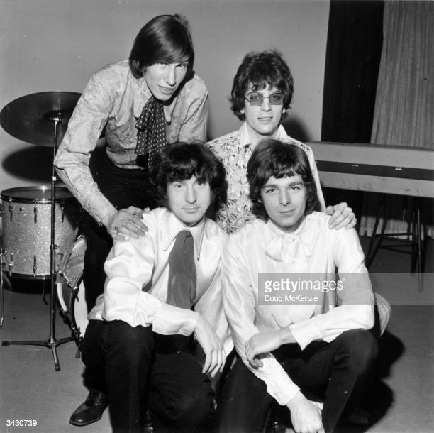 Members of a Psychedelic pop group 'The Pink Floyd' left to right back Roger Waters Syd Barrett front Nick Mason and Rick Wright