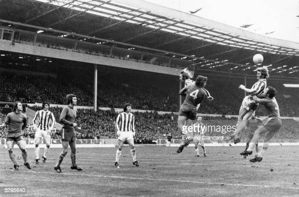 Stoke CIty putting pressure on the Chelsea defence in the League Cup Final match at Wembley