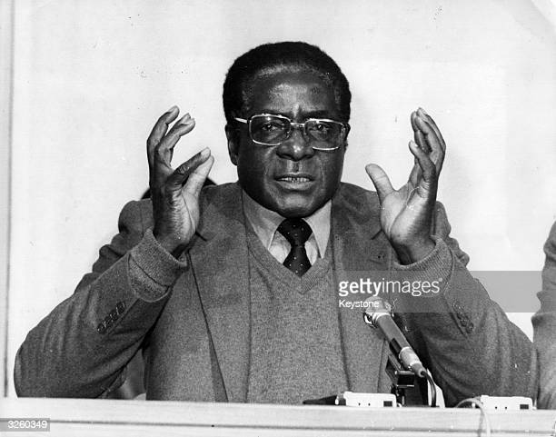 Robert Gabriel Mugabe first prime minister of independent Zimbabwe speaks at a press conference