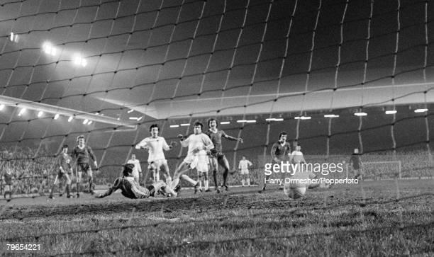 4th March 1981 Anfield Liverpool European Cup Quarter Final 1st Leg Liverpool 5 v CSKA Sofia 1 Terry McDermott of Liverpool scores a goal