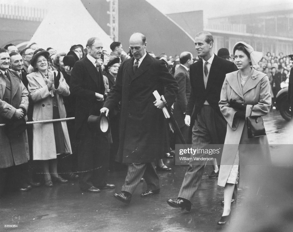 Queen Elizabeth II and Prince Philip arrive at the South Bank exhibition site, London, for their official visit to the Festival of Britain.