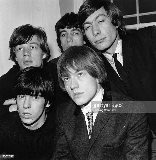 British rhythm and blues pop group the Rolling Stones from left to right back row Mick Jagger Bill Wyman Charlie Watts front Keith Richards and Brian...