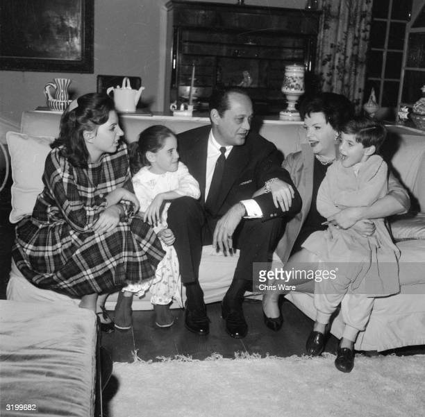 American film star Judy Garland with her husband film producer Sid Luft and their children Liza Lorna and Joe at their home in Chelsea London