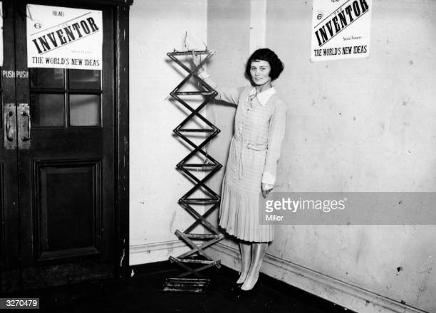 A collapsible iron ladder invented by J Meluish of London at an exhibition of inventions at Central Hall Westminster London
