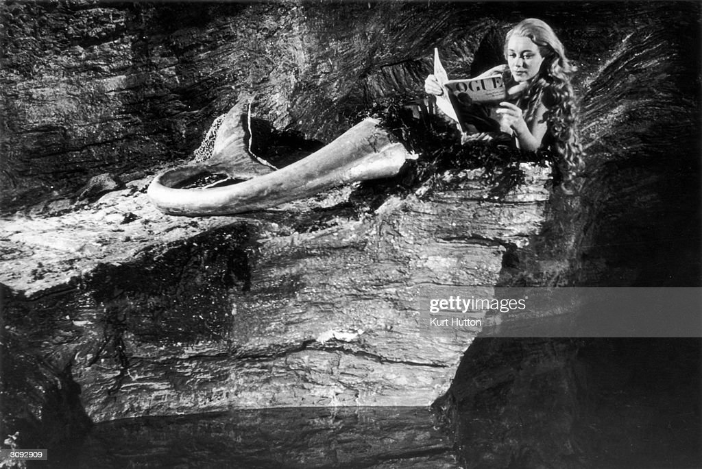 Actress Glynis Johns as Miranda, a blonde mermaid living in a Cornish cave in a scene from the film 'Miranda'. Original Publication: Picture Post - 4457 - A Mermaid Has Tail Trouble - pub. 1947