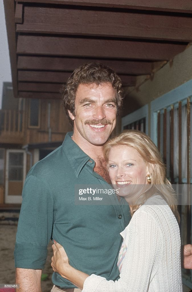 American actor Tom Selleck and his wife, Jacquelyn Ray, hugging at actor Robert Colbert's birthday party, at Colbert's home in Malibu, California. Selleck and Colbert were co-stars on the television soap opera, 'The Young and the Restless.'