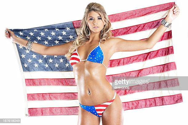 4th of July American Bikini on Sexy Young Woman, Flag