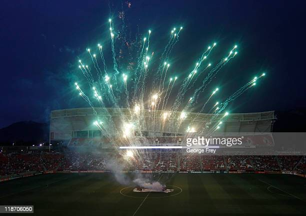 4th of July fireworks are shot off after a game against Real Salt Lake and the New England Revolution after an MLS soccer game July 4 2011 at Rio...