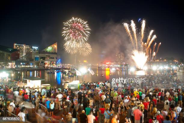 4th of July fireworks in Inner Harbor Baltimore USA