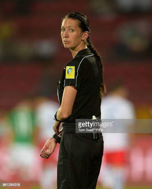 4th official AnnaMarie Keighley looks on during the FIFA U17 World Cup India 2017 group E match between Mexico and Chile at Indira Gandhi Athletic...