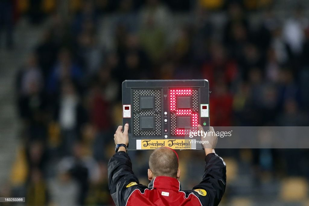 4th official Edwin Boot during the Dutch Eredivisie match between Roda JC Kerkrade and PEC Zwolle at the Parkstad Limburg on Oktober 5, 2013 in Kerkrade, The Netherlands