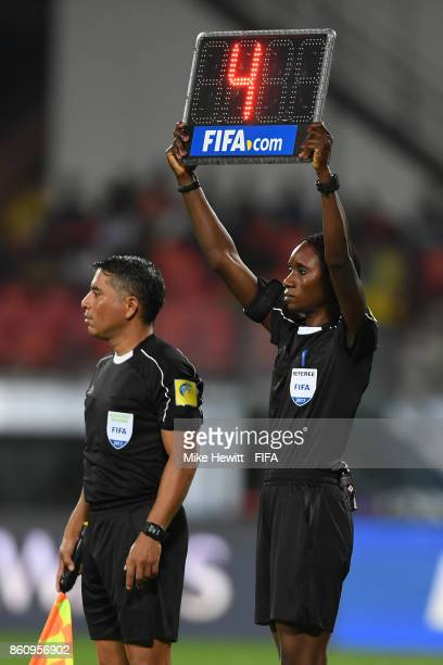 4th official Gladys Lengwe of Zambia signals 4 minutes of injury time during the FIFA U17 World Cup India 2017 group D match between Spain and Korea...