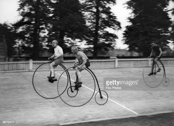 A group of penny farthing cyclists at Herne Hill London