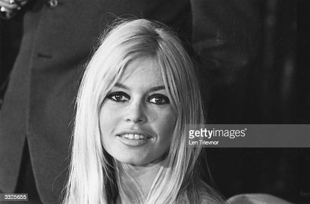 French actress Brigitte Bardot at a press conference in London