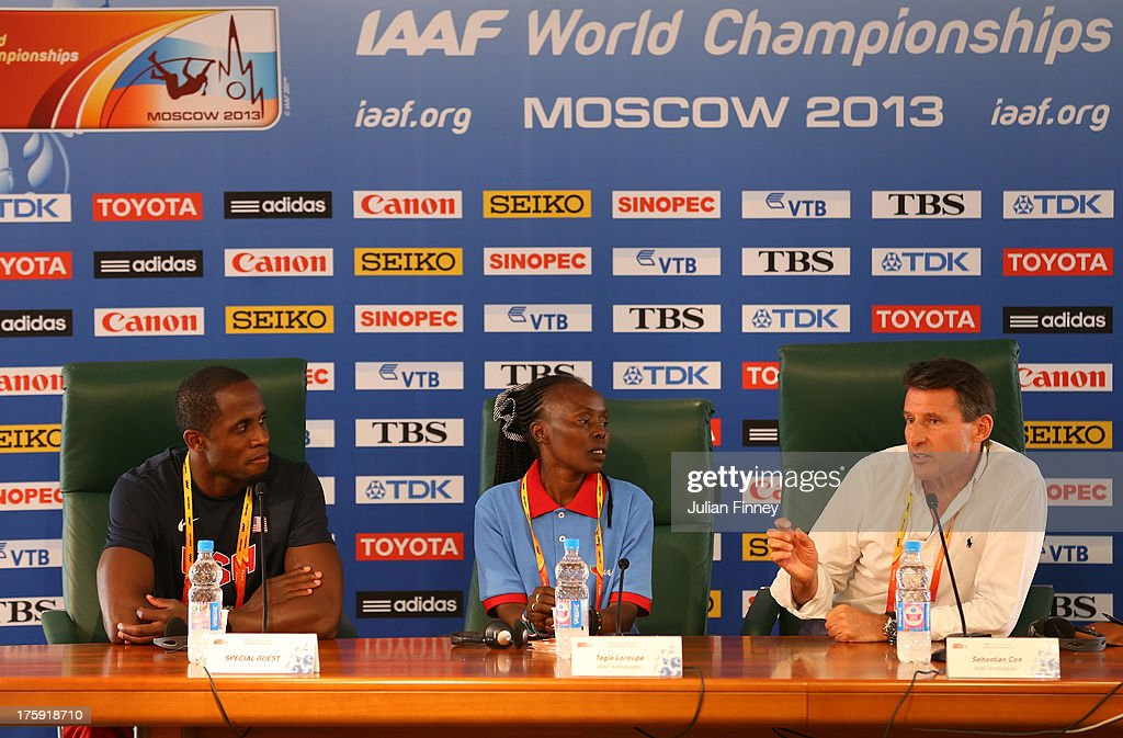 4-time World Long Jump champion Dwight Phillips of United States, former Marathon World record holder Tegla Loroupe of Kenya, IAAF Vice President, Lord Sebastian Coe attend the IAAF Ambassador Programme Press Conference during Day One of the 14th IAAF World Athletics Championships Moscow 2013 at Luzhniki Stadium on August 10, 2013 in Moscow, Russia.