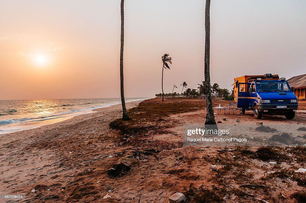 4x4 expedition truck camping on Ada Foah beach