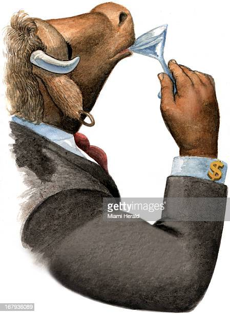 50p x 68p Ray Bubel color illustration of profile of an elegant bull in business suit with dollar sign cufflinks and human hand sipping from a...