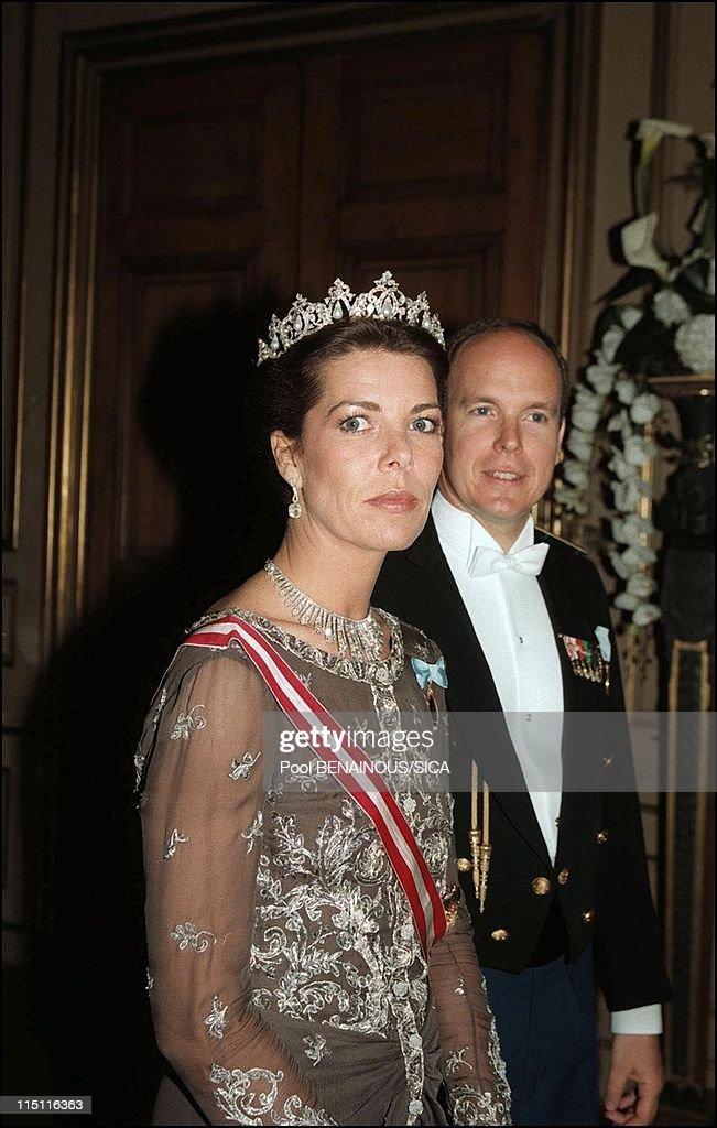 50th anniversary of king Carl Gustav of Sweden in Stockholm, Sweden on April 30, 1996 - Caroline and Albert of Monaco.