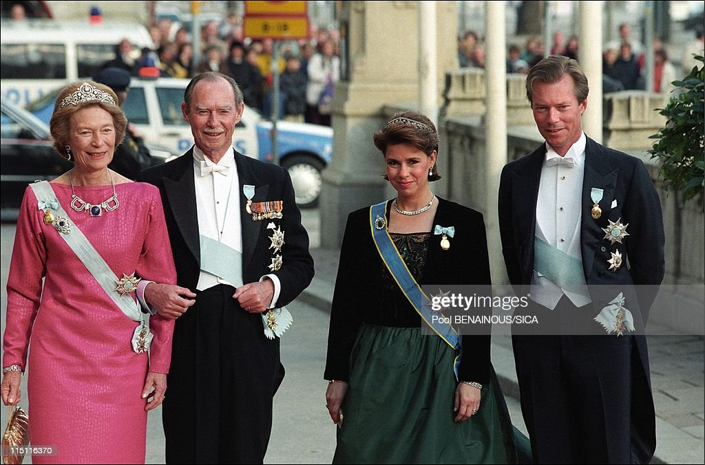 50th anniversary of king Carl Gustav of Sweden in Stockholm, Sweden on April 30, 1996 - Josephine Charlotte, Jean, Maria Teresa and Henri of Luxembourg.