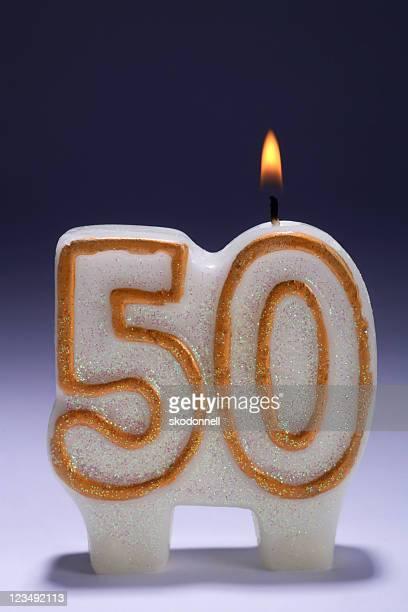 50. Jubiläum oder eine Geburtstagsfeier Kerze