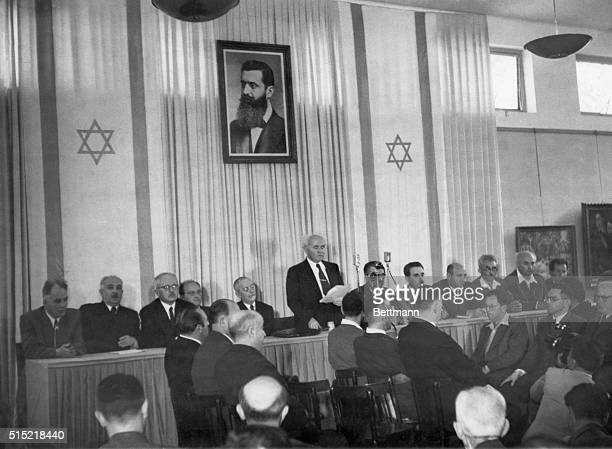 5/14/1948Tel Aviv Israel Members of the newly created state of Israel gathered to hear Prime Minister David Ben Gurion read the Jewish 'Declaration...