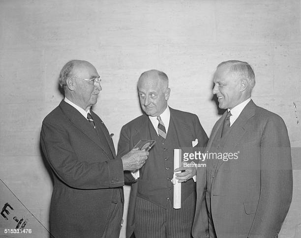 5/15/1940Philadelphia PA Left to right Chemist Leo Hendrick Baekeland Phil Staples and Physicist Karl Compton are picture at the Franklin Institute...