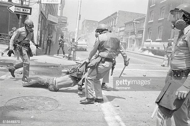 5/15/1969Berkeley CA A policeman drags away a demonstrator nearly taking his shirt off during a clash with 2000 students and nonstudents who had...