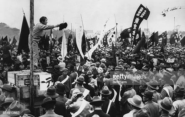 5/16/1931Tokyo JapanA scene at a meeting in Tokyo on May Day which preceeded the longest labor parade ever held in Japan An orator is shown...
