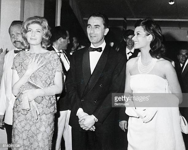 5/16/1960Cannes France Director Michelangelo Anonioni with Italian actresses Monica Vitti and Lea Massari at Festival Palace