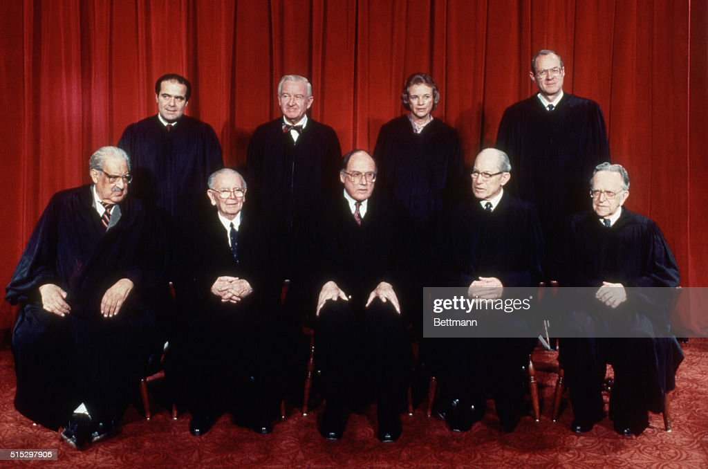 Washington, D.C.- US Supreme Court (official portrait), front L-R: Thurgood Marshall; William Brennan; Chief Justice William Rehnquist; Byron White; Harry Blackmun; rear L-R: Anthony Kennedy; Sandra Day O'Connor; John Paul Stevens; and Antonin Scaliia.
