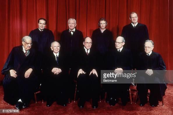 5/18/1988Washington DC US Supreme Court front LR Thurgood Marshall William Brennan Chief Justice William Rehnquist Byron White Harry Blackmun rear LR...