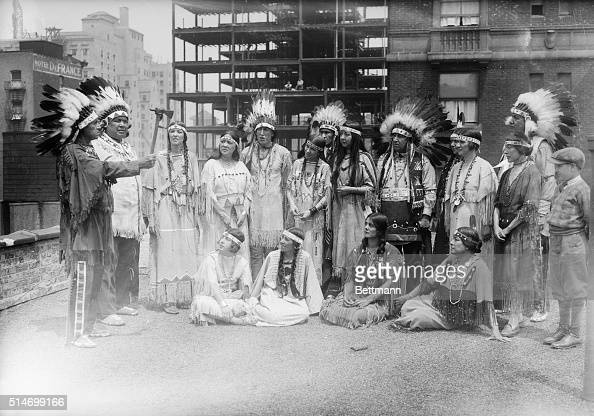 Photo shows a group of Indians who are here from all over the country to celebrate the forming of an Indian aboriginal council by holding a pow wow...