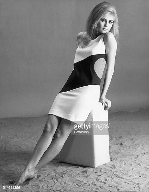 5/2/1966New York New York Actress Pamela Tiffin wears one of Gayle Kirkpatrick's cutups that is made of a specially constructed stretch nylon...