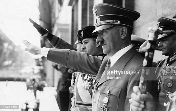 5/23/1939Berlin Germany The Fuerer and Count Ciano giving salute from Chancellory balcony