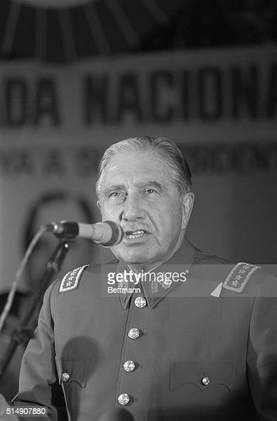 5/25/1984Santiago Chile Chilean President General Augusto Pinochet addresses supporters in a downtown Santiago theater The rally attended by some...