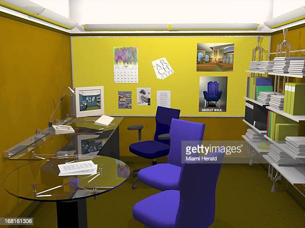52p x 39p color illustration of an office with plexiglass tables purple chairs bookcase computer posters on wall