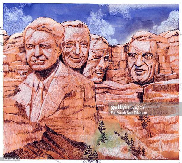 52p x 47p Jim Atherton color illustration of 'Mt Rushmore' with faces of longtime college football coaches