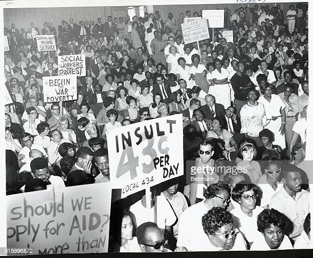 5/31/1966Los Angeles California A Board of Supervisors hearing room is jammed to aisles with County employees as thousands of Los Angeles County...