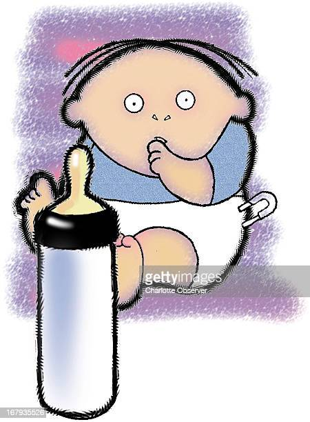 53p x 73p George Breisacher color illustration of a diapered baby sucking his thumb behind a baby bottle
