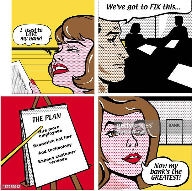 54p x 53p Brenda Pinnell color illustration of four comicstyled panels which show a distraught customer a concerned bank manager a simple plan to...