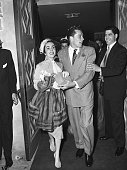 5/6/1950Beverly Hills CA Mr and Mrs Conrad Nicholson Hilton Jr she's film actress Elizabeth Taylor leave for a oneweek secret honeymoon 'some place...