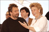 56th Cannes Film Festival PhotoCall of European Ministers of culture in Cannes France on May 15 2003 Luc Besson and the European commission agent of...