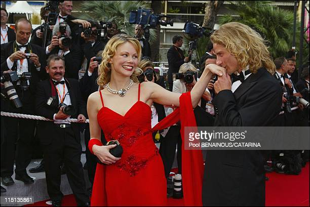 56th Cannes Film Festival Stairs of 'Les invasions barbares' in Cannes France on May 21 2003 Gwendal Peizerat and his girl friend