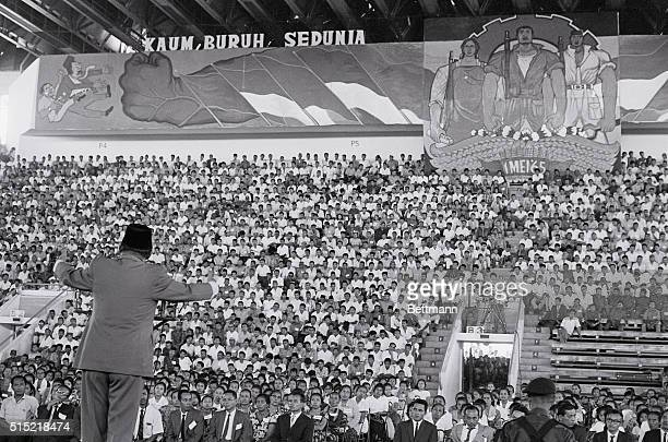 5/7/1965Djakarta Indonesia President Sukarno of Indonesia addresses a mass May Day rally in the Sports Hall Building Sukarno announced his decision...