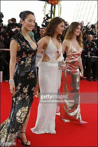 57th Cannes Film Festival Opening ceremony France on May 12 2004 Gong Li Aishwarya Rai Laeticia Casta Gong Li dressed by Tom Ford for Yves Saint...