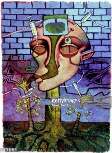 58p x 79p Earl F Lam III color illustration shows a surreal portrait of a heroin addict with syringes sticking into eye and hands