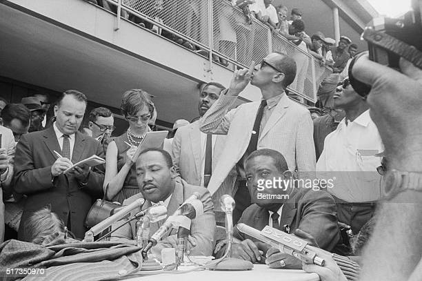 5/9/1963Birmingham Alabama Wyatt Tee Walker whispers 'shhh' to quiet spectators on balcony during press conference held by Martin Luther King Jr and...