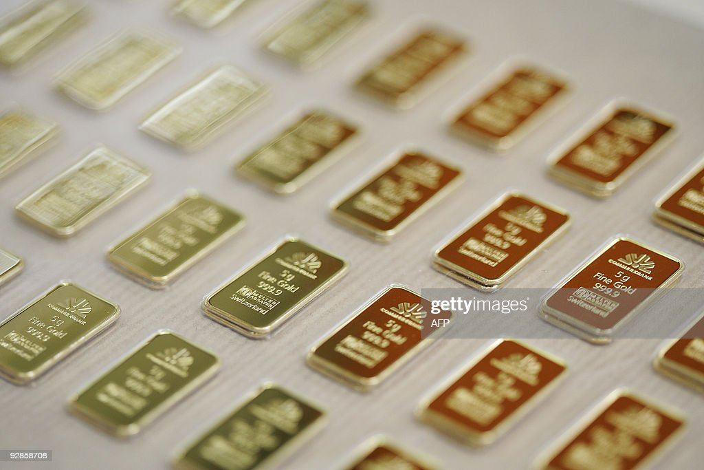 5g gold bars engraved with the logo and name of the german bank Commerbank are pictured on April 6 2009 at a plant of gold refiner and bar...
