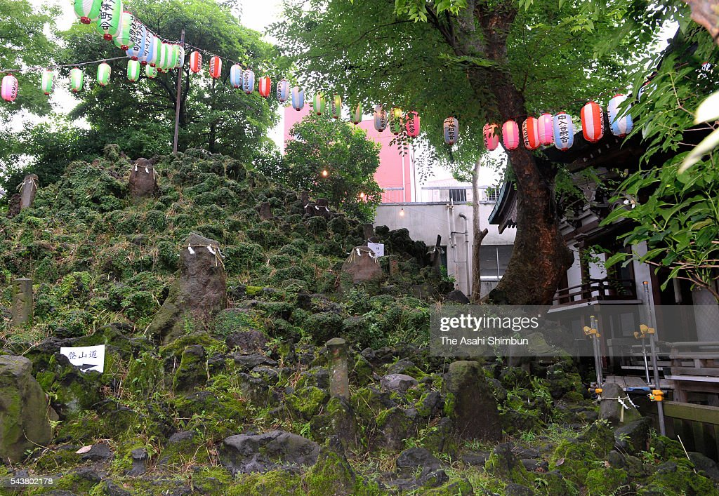 5-meter-tall 'Fujizuka', made of rocks of Mount Fuji, is seen ahead of the Mount Fuji opening season during the ceremony at Onoterusaki Jinja Shrine on June 30, 2016 in Tokyo, Japan. 'Fujizuka' is a small mound represent Mount Fuji, which has been regarded as a sacred mountain and an object of worship. In Edo era (1603-1868) many 'Fujizuka' mounds were built for those unable to ascend Mount Fuji.