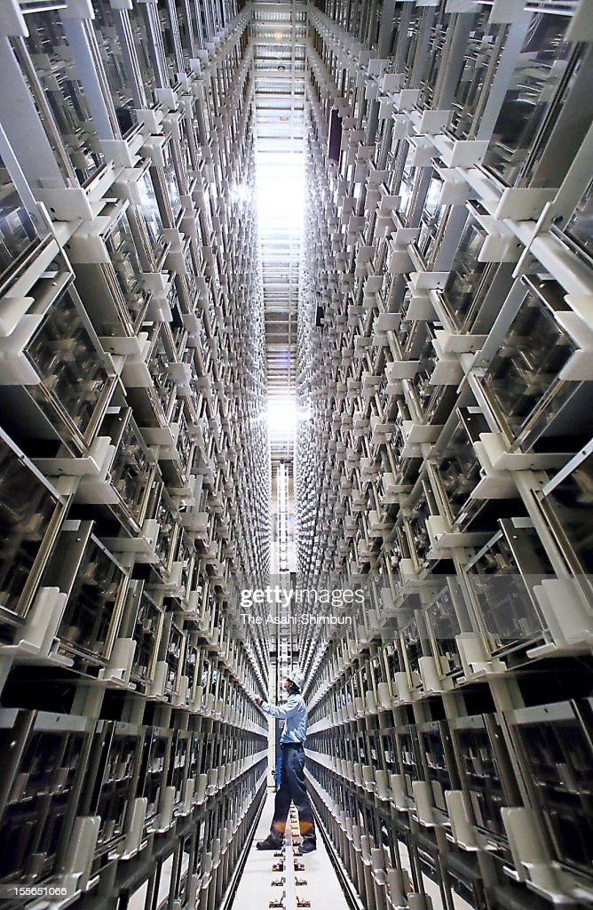 5-story high burial chambers that enables to rest 7,200 remains, at Meguro Anyoin templeon October 29, 2012 in Tokyo, Japan. The high-tech chamber uses Toyota Industries' latest automation technology in response to diversified needs of the bereaved.